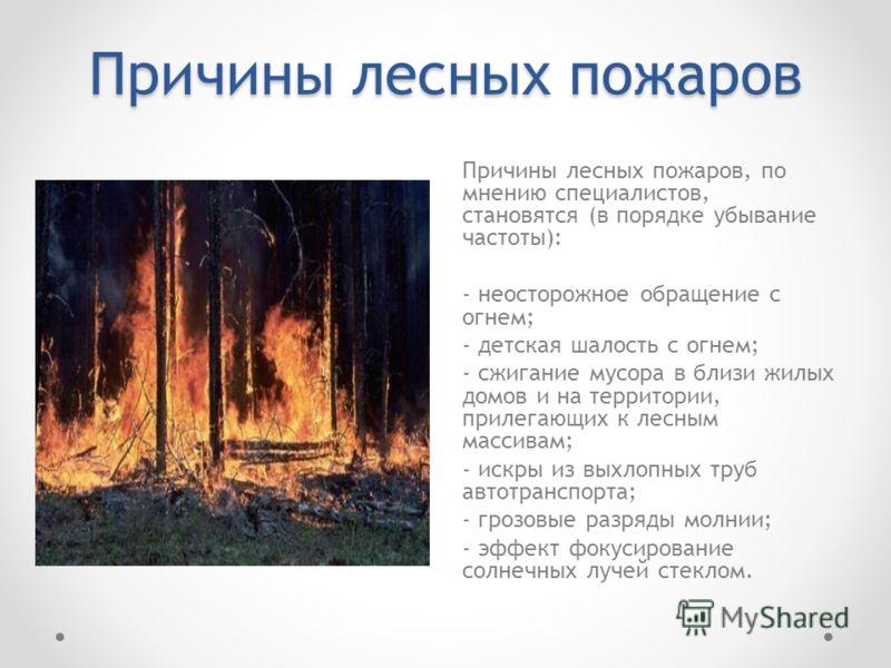 Причины лесных пожаров Причины лесных пожаров, по мнению специалистов, становятся (в порядке убывание частоты): - неосторожное обращение с огнем; - детская шалость с огнем; - сжигание мусора в близи жилых домов и на территории, прилегающих к лесным м