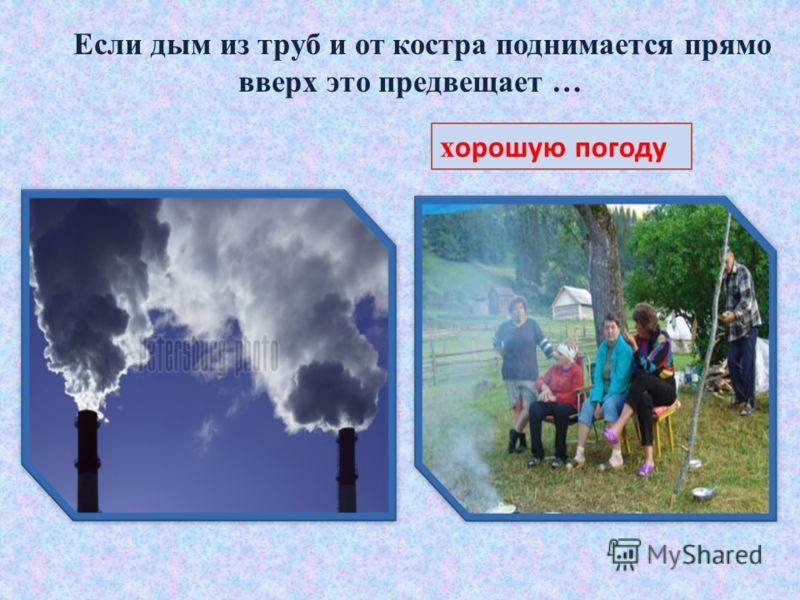 Если дым из труб и от костра поднимается прямо вверх это предвещает … х орошую погоду