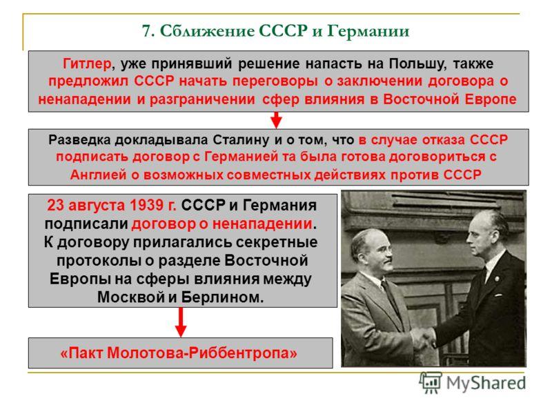 7. Сближение СССР и Германии Гитлер, уже принявший решение напасть на Польшу, также предложил СССР начать переговоры о заключении договора о ненападении и разграничении сфер влияния в Восточной Европе Разведка докладывала Сталину и о том, что в случа