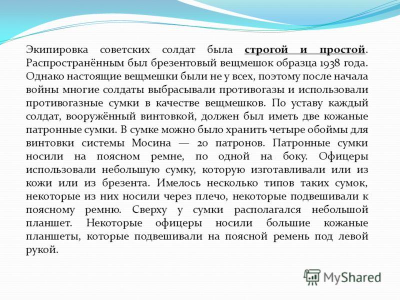 Экипировка советских солдат была строгой и простой. Распространённым был брезентовый вещмешок образца 1938 года. Однако настоящие вещмешки были не у всех, поэтому после начала войны многие солдаты выбрасывали противогазы и использовали противогазные