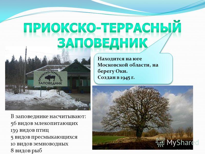 Находится на юге Московской области, на берегу Оки. Создан в 1945 г. Находится на юге Московской области, на берегу Оки. Создан в 1945 г. В заповеднике насчитывают: 56 видов млекопитающих 139 видов птиц 5 видов пресмыкающихся 10 видов земноводных 8 в
