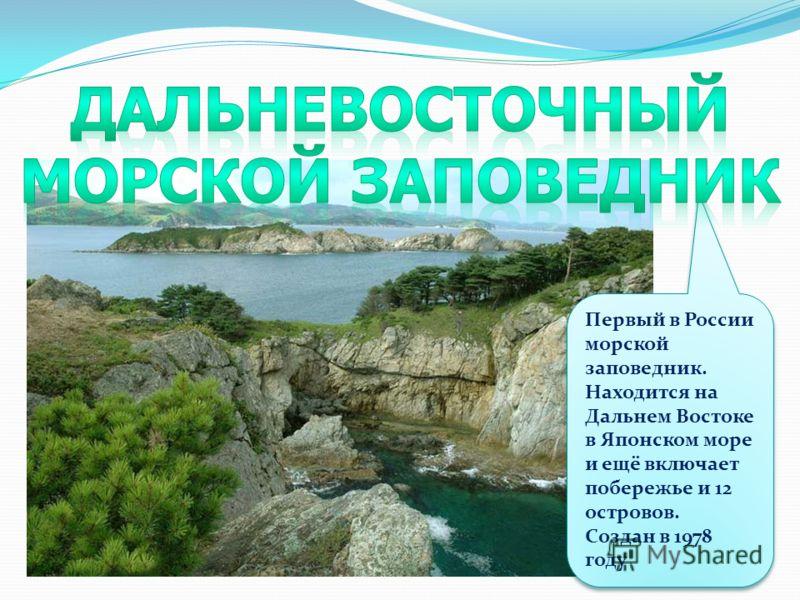 Первый в России морской заповедник. Находится на Дальнем Востоке в Японском море и ещё включает побережье и 12 островов. Создан в 1978 году Первый в России морской заповедник. Находится на Дальнем Востоке в Японском море и ещё включает побережье и 12