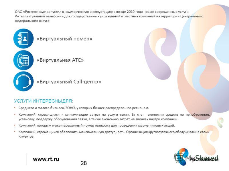 www.rt.ru 28 ОАО «Ростелеком» запустил в коммерческую эксплуатацию в конце 2010 года новые современные услуги Интеллектуальной телефонии для государственных учреждений и частных компаний на территории Центрального федерального округа: «Виртуальный но