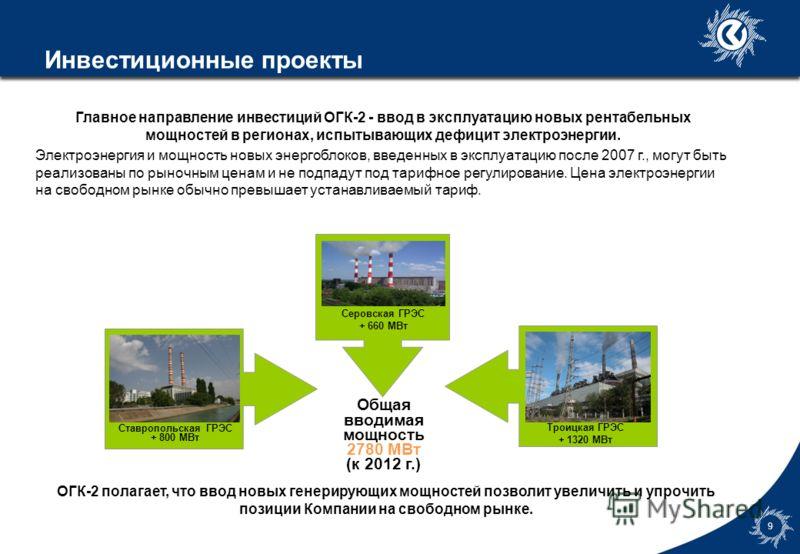 7gld0786_template3 8 Активы и обязательства $375 млн. $904 млн. Низкий уровень просроченной дебиторской задолженности (потребителями являются крупные энергоснабжающие компании) ОГК-2 стремится к уменьшению доли краткосрочной задолженности и увеличени