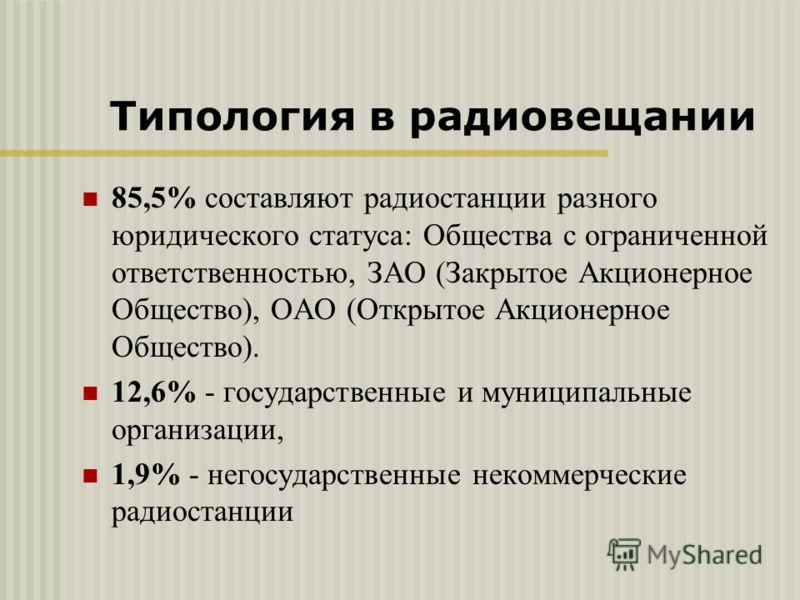 85,5% составляют радиостанции разного юридического статуса: Общества с ограниченной ответственностью, ЗАО (Закрытое Акционерное Общество), ОАО (Открытое Акционерное Общество). 12,6% - государственные и муниципальные организации, 1,9% - негосударствен