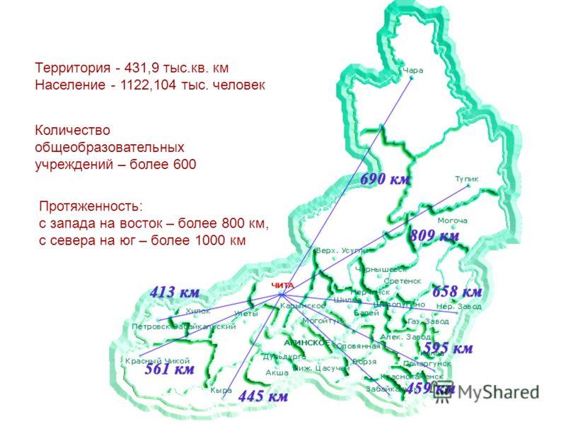 Территория - 431,9 тыс.кв. км Население - 1122,104 тыс. человек Протяженность: с запада на восток – более 800 км, с севера на юг – более 1000 км Количество общеобразовательных учреждений – более 600