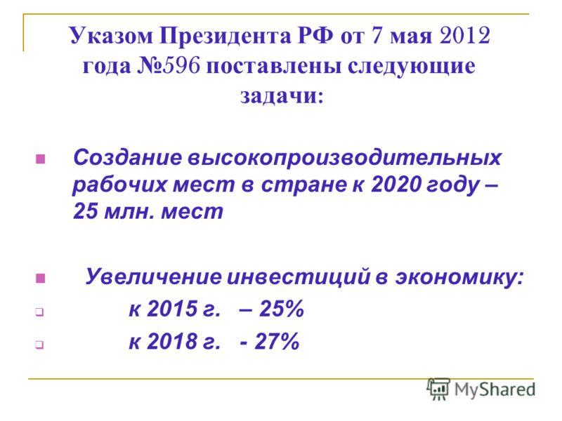 Указом Президента РФ от 7 мая 2012 года 596 поставлены следующие задачи : Создание высокопроизводительных рабочих мест в стране к 2020 году – 25 млн. мест Увеличение инвестиций в экономику: к 2015 г. – 25% к 2018 г. - 27%