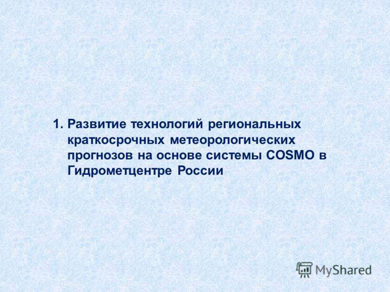 1.Развитие технологий региональных краткосрочных метеорологических прогнозов на основе системы COSMO в Гидрометцентре России
