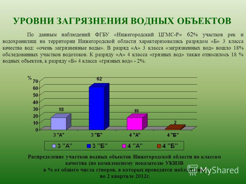 По данным наблюдений ФГБУ «Нижегородский ЦГМС-Р» 62 % участков рек и водохранилищ на территории Нижегородской области характеризовались разрядом «Б» 3 класса качества вод: «очень загрязненные воды». В разряд «А» 3 класса «загрязненных вод» вошло 18%