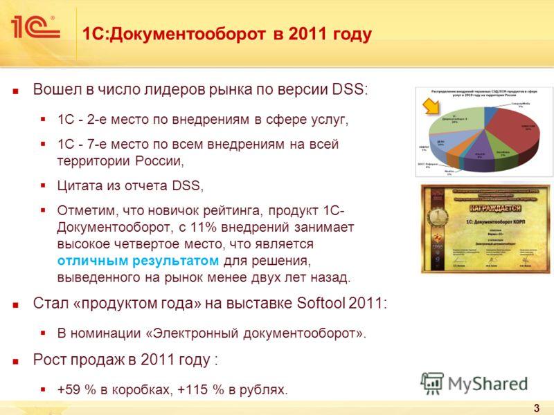 1С:Документооборот в 2011 году Вошел в число лидеров рынка по версии DSS: 1С - 2-е место по внедрениям в сфере услуг, 1С - 7-е место по всем внедрениям на всей территории России, Цитата из отчета DSS, Отметим, что новичок рейтинга, продукт 1С- Докуме