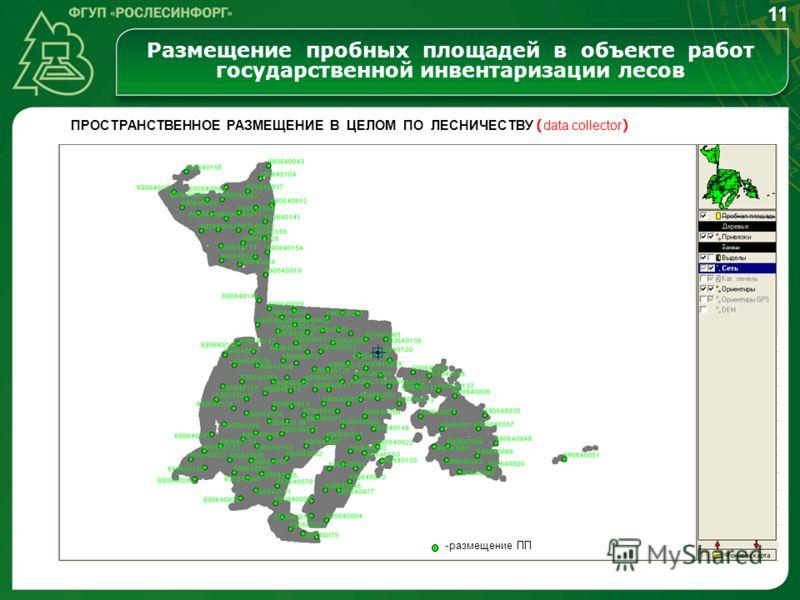 Размещение пробных площадей в объекте работ государственной инвентаризации лесов 11 ПРОСТРАНСТВЕННОЕ РАЗМЕЩЕНИЕ В ЦЕЛОМ ПО ЛЕСНИЧЕСТВУ ( data collector ) -размещение ПП