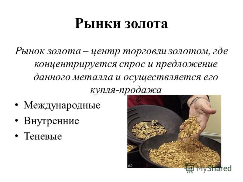 Рынки золота Рынок золота – центр торговли золотом, где концентрируется спрос и предложение данного металла и осуществляется его купля-продажа Международные Внутренние Теневые
