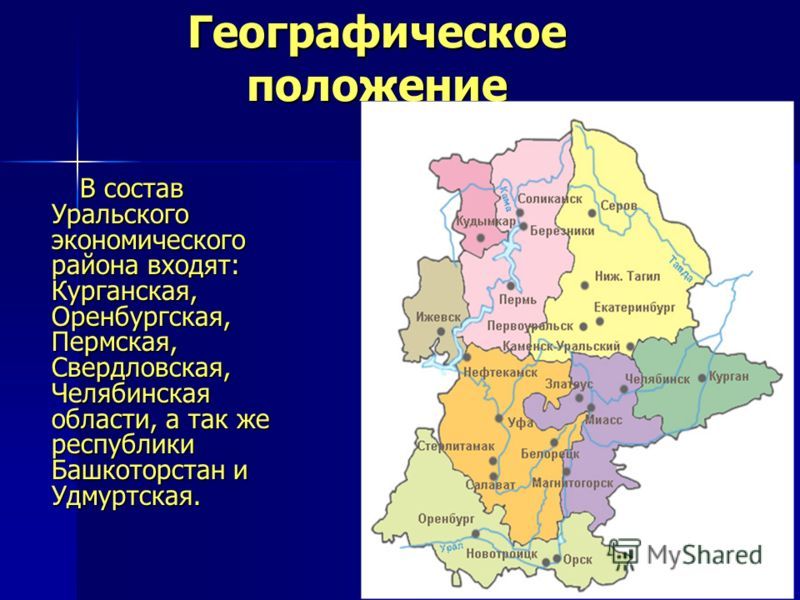 Географическое положение В состав Уральского экономического района входят: Курганская, Оренбургская, Пермская, Свердловская, Челябинская области, а так же республики Башкоторстан и Удмуртская. В состав Уральского экономического района входят: Курганс