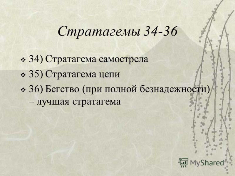 Стратагемы 34-36 34) Стратагема самострела 35) Стратагема цепи 36) Бегство (при полной безнадежности) – лучшая стратагема