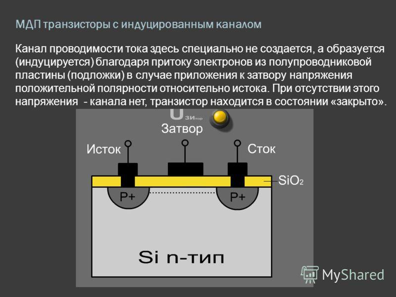МДП транзисторы с индуцированным каналом Канал проводимости тока здесь специально не создается, а образуется (индуцируется) благодаря притоку электронов из полупроводниковой пластины (подложки) в случае приложения к затвору напряжения положительной п