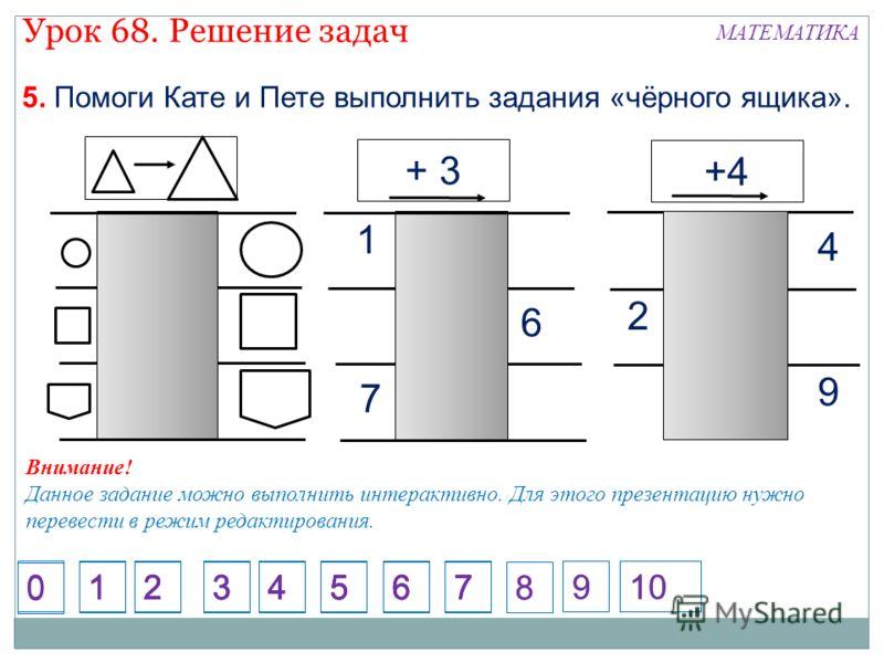 7 6 1 5. Помоги Кате и Пете выполнить задания «чёрного ящика». + 3 +4 9 2 4 Внимание! Данное задание можно выполнить интерактивно. Для этого презентацию нужно перевести в режим редактирования. 1234567 1234567 1234567 1234567 8 9 8 910 0 0 Урок 68. Ре