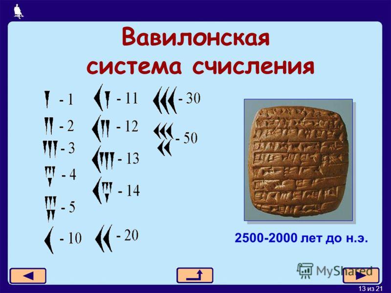 13 из 21 Вавилонская система счисления 2500-2000 лет до н.э.