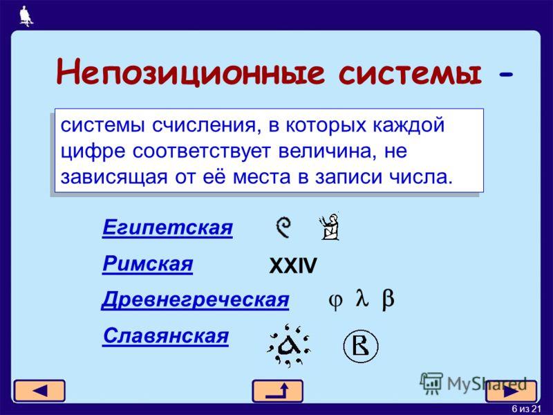 6 из 21 Непозиционные системы - системы счисления, в которых каждой цифре соответствует величина, не зависящая от её места в записи числа. Египетская Римская Древнегреческая Славянская XXIV