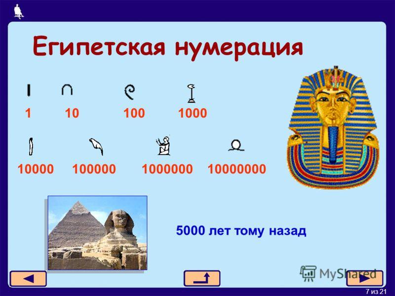 7 из 21 Египетская нумерация 1 10 100 1000 10000 100000 1000000 10000000 5000 лет тому назад