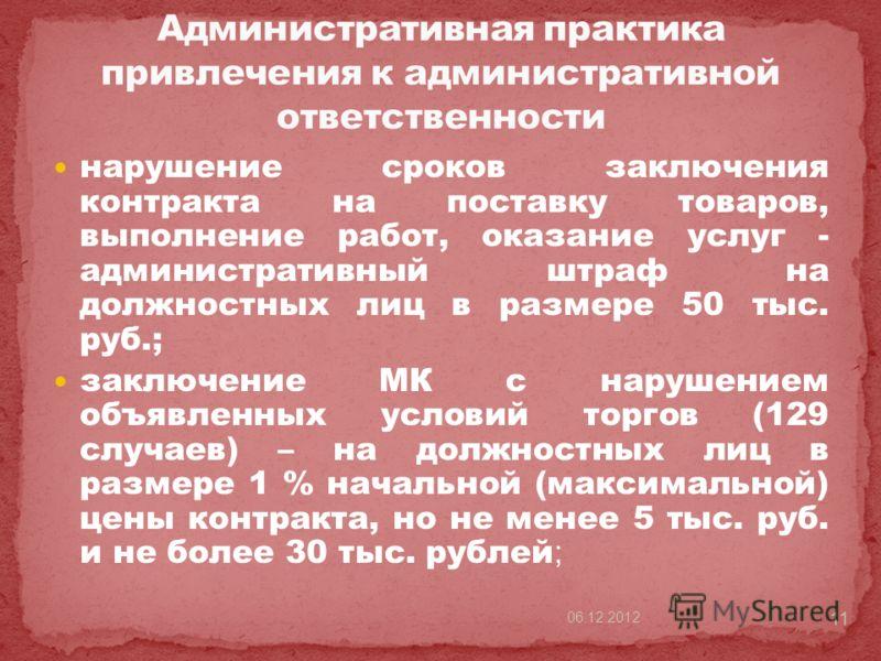 нарушение сроков заключения контракта на поставку товаров, выполнение работ, оказание услуг - административный штраф на должностных лиц в размере 50 тыс. руб.; заключение МК с нарушением объявленных условий торгов (129 случаев) – на должностных лиц в