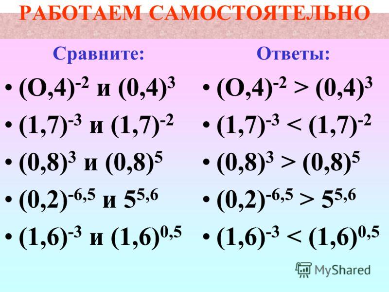 Задание для работы в классе: 1 - 448 2 - 449 3 - Найти координаты точек пересечения графиков функции а) у = 2 х и у = 8 б) у = 0,5 х и у = 0,5