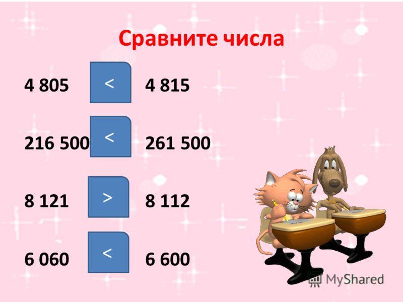 Сравните числа 4 8054 815 216 500261 500 8 1218 112 6 0606 600 < < >