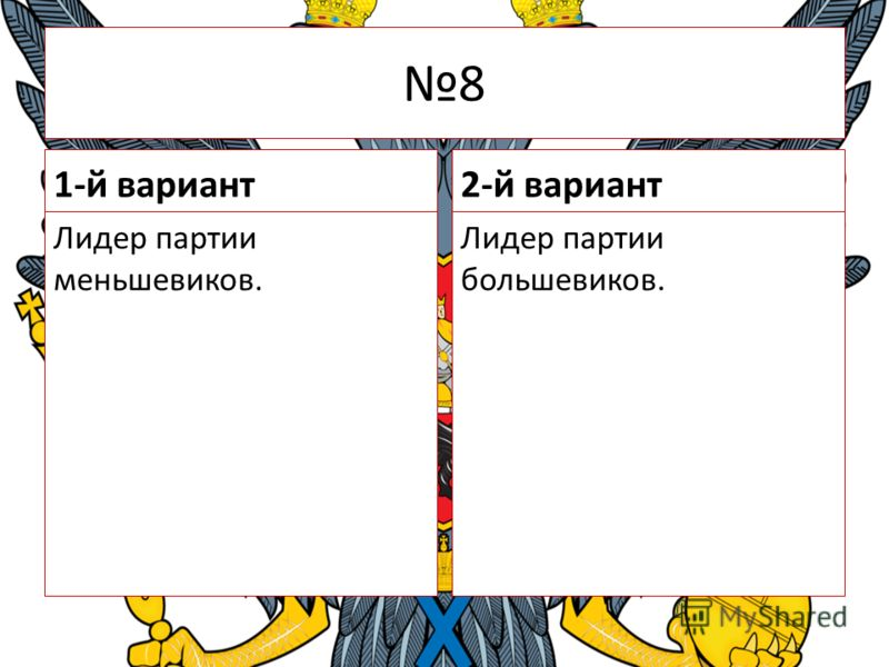8 1-й вариант Лидер партии меньшевиков. 2-й вариант Лидер партии большевиков.