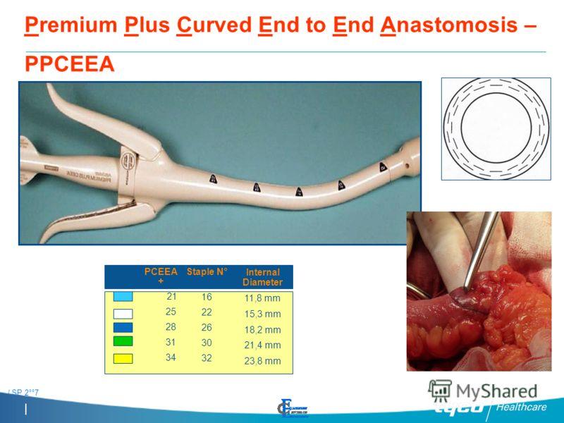 / SP 2°°7 PPCEEA Premium Plus Curved End to End Anastomosis – PPCEEA PCEEA + 21 25 28 31 34 Staple N° 16 22 26 30 32 Internal Diameter 11,8 mm 15,3 mm 18,2 mm 21,4 mm 23,8 mm