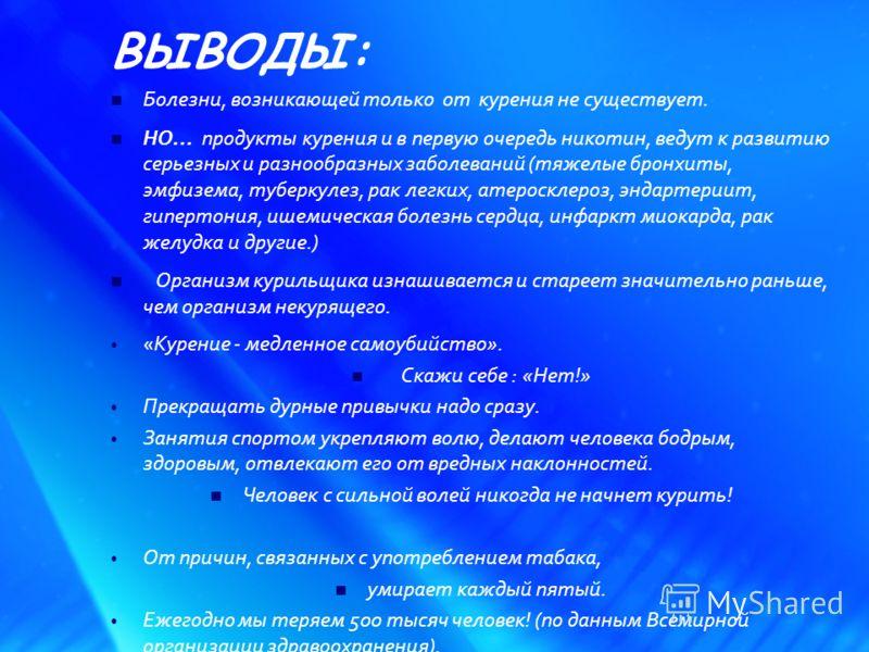 ВЫВОДЫ: Болезни, возникающей только от курения не существует. НО… продукты курения и в первую очередь никотин, ведут к развитию серьезных и разнообразных заболеваний (тяжелые бронхиты, эмфизема, туберкулез, рак легких, атеросклероз, эндартериит, гипе