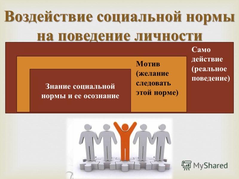 Воздействие социальной нормы на поведение личности Знание социальной нормы и ее осознание Мотив ( желание следовать этой норме ) Само действие ( реальное поведение )