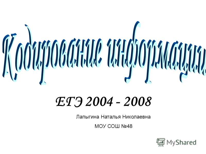 ЕГЭ 2004 - 2008 Лапыгина Наталья Николаевна МОУ СОШ 48
