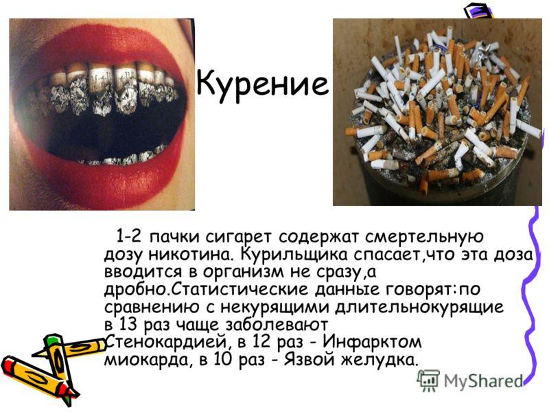 Курение 1-2 пачки сигарет содержат смертельную дозу никотина. Курильщика спасает,что эта доза вводится в организм не сразу,а дробно.Статистические данные говорят:по сравнению с некурящими длительнокурящие в 13 раз чаще заболевают Стенокардией, в 12 р
