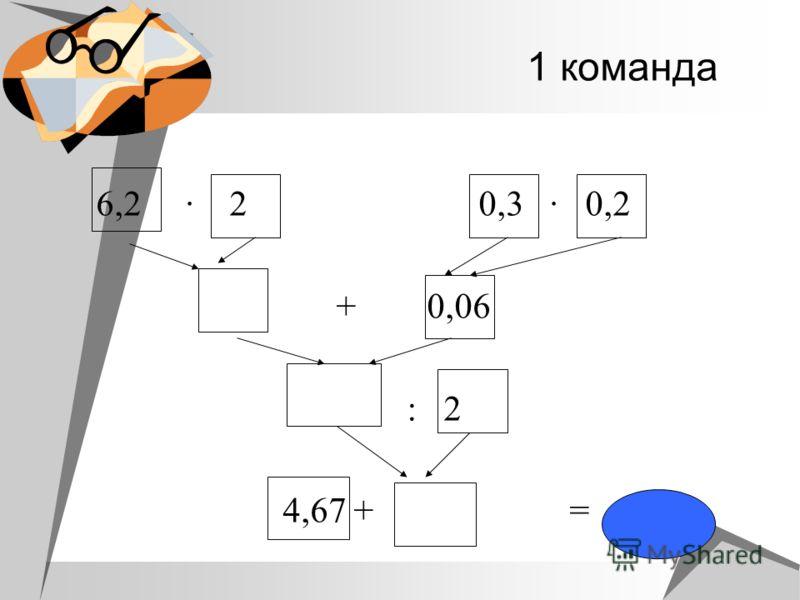 1 команда 6,2 2 0,3 0,2 + 0,06 : 2 4,67 + =