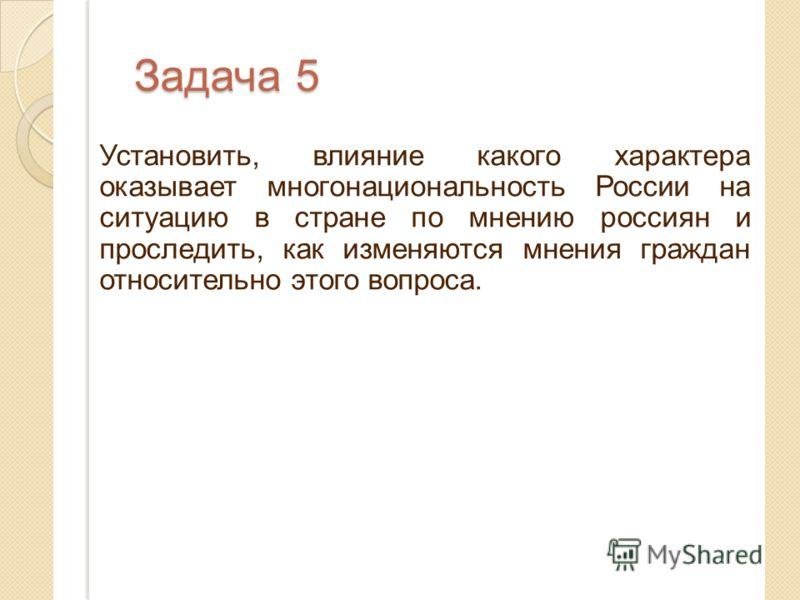 Задача 5 Установить, влияние какого характера оказывает многонациональность России на ситуацию в стране по мнению россиян и проследить, как изменяются мнения граждан относительно этого вопроса.