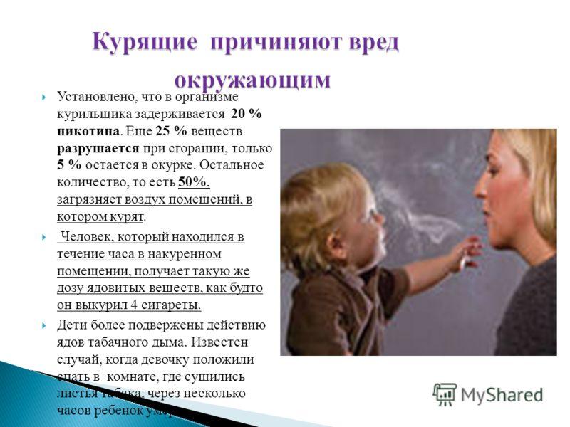 Установлено, что в организме курильщика задерживается 20 % никотина. Еще 25 % веществ разрушается при сгорании, только 5 % остается в окурке. Остальное количество, то есть 50%, загрязняет воздух помещений, в котором курят. Человек, который находился
