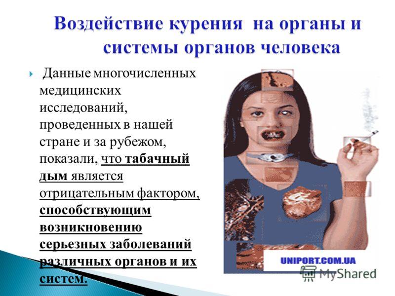 Данные многочисленных медицинских исследований, проведенных в нашей стране и за рубежом, показали, что табачный дым является отрицательным фактором, способствующим возникновению серьезных заболеваний различных органов и их систем.