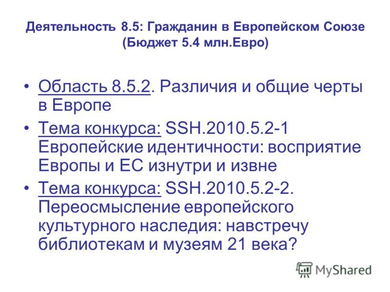 Деятельность 8.5: Гражданин в Европейском Союзе (Бюджет 5.4 млн.Евро) Область 8.5.2. Различия и общие черты в Европе Тема конкурса: SSH.2010.5.2-1 Европейские идентичности: восприятие Европы и ЕС изнутри и извне Тема конкурса: SSH.2010.5.2-2. Переосм