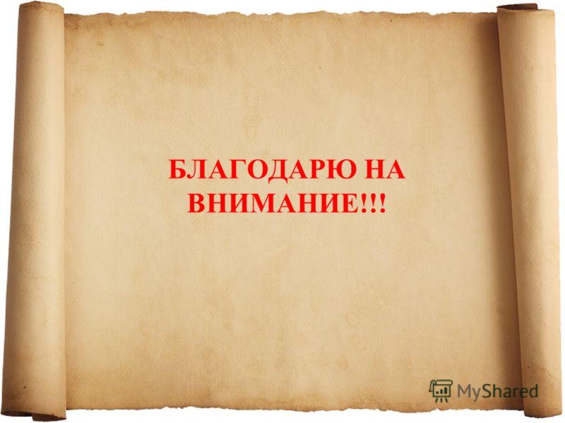 БЛАГОДАРЮ НА ВНИМАНИЕ!!!