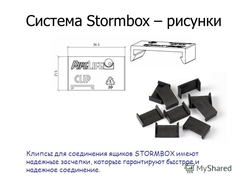 Система Stormbox – рисунки клипс для ящиков Клипсы для соединения ящиков STORMBOX имеют надежные засчепки, которые гарантируют быстрое и надежное соединение.
