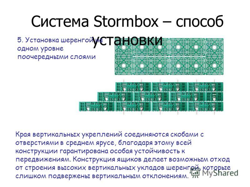 5. Установка шеренгой на одном уровне поочередными слоями Края вертикальных укреплений соединяются скобами с отверстиями в среднем ярусе, благодаря этому всей конструкции гарантирована особая устойчивость к передвижениям. Конструкция ящиков делает во