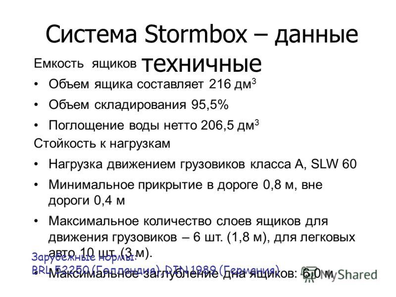Система Stormbox – данные техничные Емкость ящиков Объем ящика составляет 216 дм 3 Объем складирования 95,5% Поглощение воды нетто 206,5 дм 3 Стойкость к нагрузкам Нагрузка движением грузовиков класса A, SLW 60 Минимальное прикрытие в дороге 0,8 м, в