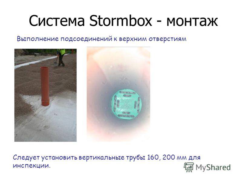 Система Stormbox - монтаж Выполнение подсоединений к верхним отверстиям Следует установить вертикальные трубы 160, 200 мм для инспекции.