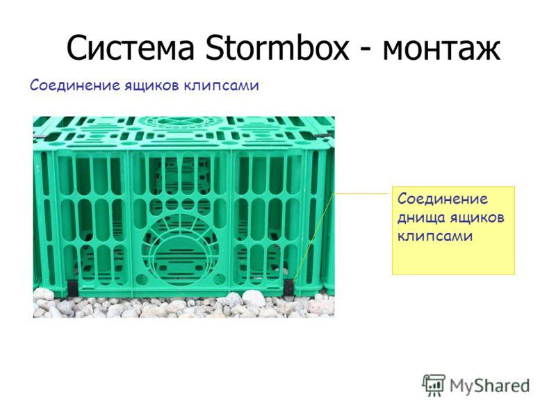 Система Stormbox - монтаж Соединение ящиков клипсами Соединение днища ящиков клипсами