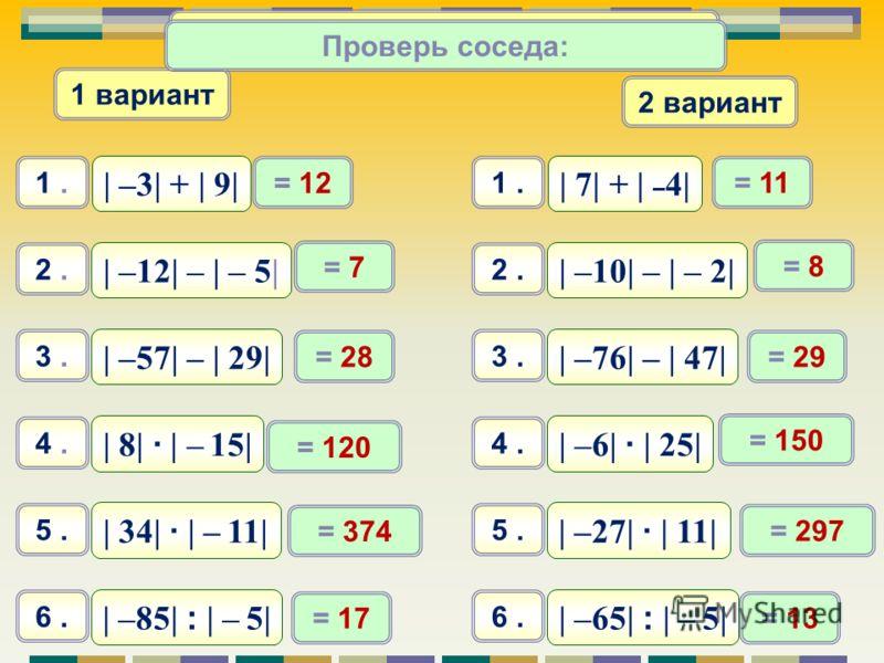 Самостоятельная работа 1 вариант 2 вариант | –3| + | 9| 1. | 7| + | – 4| 1. | –12| – | – 5| 2. | –10| – | – 2| 2. | 34| · | – 11| 3. | –27| · | 11| 3. | –85| : | – 5| 4. | –65| : | – 5| 4. = 12 = 11 = 7 = 8 = 374 = 297 = 17 = 13 Проверь соседа: