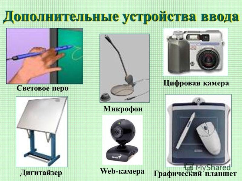 Дополнительные устройства ввода Световое перо Цифровая камера Микрофон Дигитайзер Графический планшет Web-камера