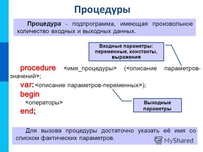 Процедуры Процедура - подпрограмма, имеющая произвольное количество входных и выходных данных. procedure procedure ( ; var: var: );begin end; Для вызова процедуры достаточно указать её имя со списком фактических параметров. Выходные параметры Входные