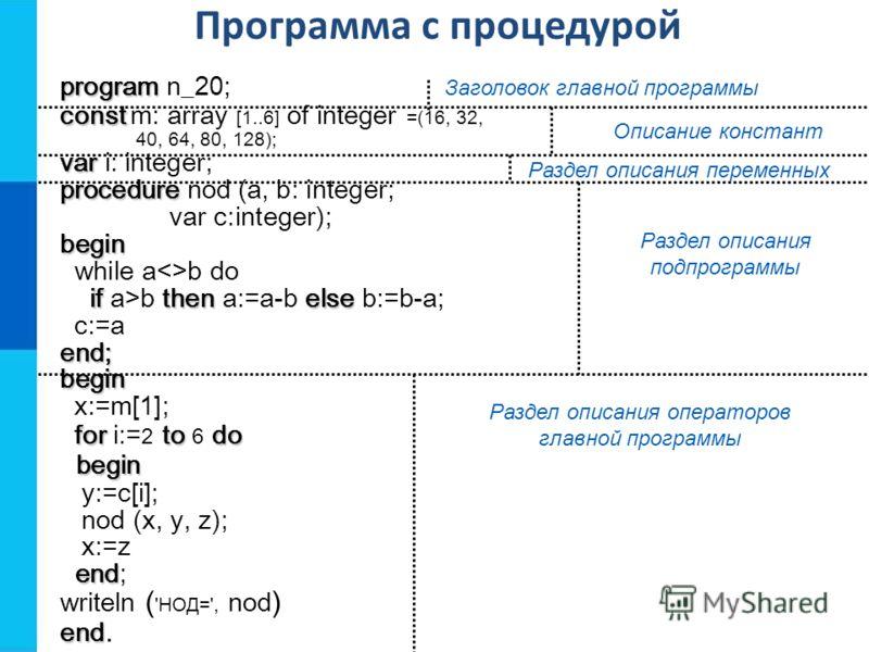 program program n_20; const const m: array [1..6] of integer =(16, 32, 40, 64, 80, 128); var var i: integer; procedure procedure nod (a, b: integer; var c:integer);begin while ab do ifthenelse if a>b then a:=a-b else b:=b-a; c:=aend;begin x:=m[1]; fo