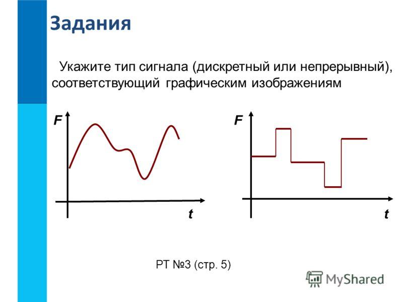 FF t t Укажите тип сигнала (дискретный или непрерывный), соответствующий графическим изображениям РТ 3 (стр. 5) Задания