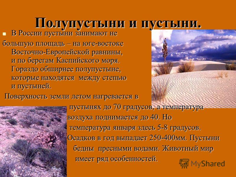 Полупустыни и пустыни. В России пустыни занимают не В России пустыни занимают не большую площадь – на юге-востоке Восточно-Европейской равнины, и по берегам Каспийского моря. Гораздо обширнее полупустыне, которые находятся между степью и пустыней. По