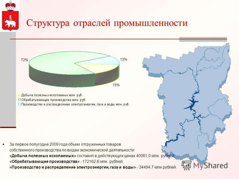 Структура отраслей промышленности За первое полугодие 2009 года объем отгруженных товаров собственного производства по видам экономической деятельности «Добыча полезных ископаемых» составил в действующих ценах 40081,0 млн. рублей, «Обрабатывающие про